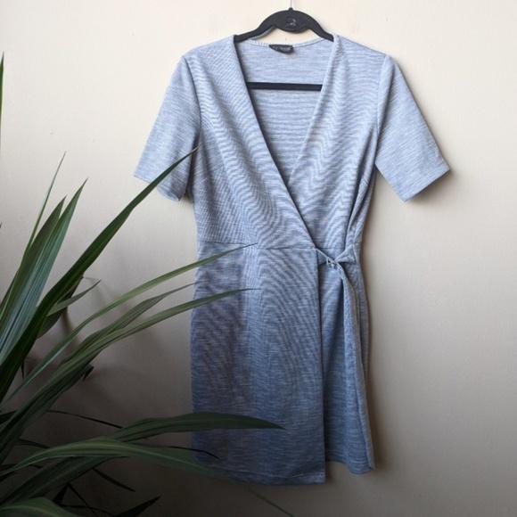 Topshop Dresses & Skirts - Topshop Belted Wrap Heathered Gray Midi Dress sz 8